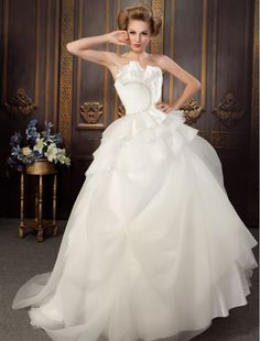 [$328.99] Taffeta Strapless Neckline Ball Gown Wedding Dress with Peplum Decorations