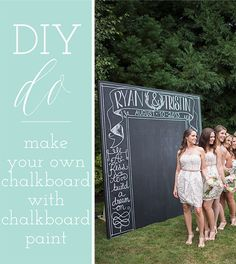 A DIY wedding chalkboard? It's simple! Just take the advice of our friends @hostandtoast | http://www.weddingpartyapp.com/blog/2014/10/08/diy-dos-and-donts-perfectly-balanced-wedding-day-host-and-toast/