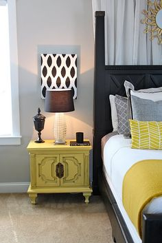 we could add a color to our grey and blue by painting nightstands and adding a pillow our throw to the bedding or wall art