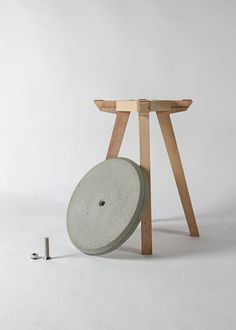 """Eco-Friendly Concrete Furniture and Decor by Bentu Design. The side table and stool set, Bu (or """"not""""),  are made of raw beech wood and one's choice of a natural or pigmented concrete. Each stands on four wooden legs, jointed with a mortise and tenon, and is finished with a concrete tabletop or seat, connected with a screw.   Read more: http://blog.gessato.com/2015/04/28/eco-friendly-concrete-furniture-and-decor-by-bentu-design/#ixzz3YkC2R0DQ"""