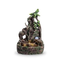 Feng Shui Fountain, Table Fountain, Mother And Baby Elephant, Elephant Table, Forest Waterfall, Moving Water, White Led Lights, Fresh And Clean, Good Energy