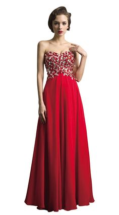BessWedding Grace Women's Long Beaded Strapless Chiffon Evening Party Gowns -- Read more  at the image link. (This is an affiliate link and I receive a commission for the sales)