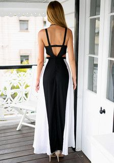 Full back view of model in cutout maxi dress