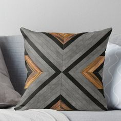 'Urban Tribal Pattern 2 - Concrete and Wood' Throw Pillow by Zoltan Ratko Minimalist Pillows, Tribal Decor, Designer Throw Pillows, Designer Cushions, Wooden Textures, Tribal Patterns, Quilted Pillow, Mayan Symbols, Viking Symbols
