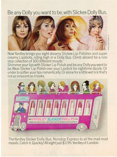 1968 Yardley Ad for Slicker Dolly Bus Featuring Jean Shrimpton All 8 for $3.95