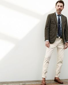 J.Crew men's Ludlow sportcoat in Italian garment-dyed cotton, Secret Wash shirt in azure striped end-on-end cotton, 484 jean in rinsed wheat and Ludlow penny loafers. To pre-order, call 800 261 7422 or email verypersonalstylist@jcrew.com.