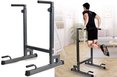 Dip stations work wonders and even better, to work out the upper body, arms, and even legs, all you need is a sturdy and reliable pull up bar dip station. Ab Roller Workout, Push Up Stand, Gym Bar, Gym Setup, Dip Station, Trampoline Workout, Tricep Dips, Pull Up Bar, Body Weight Training