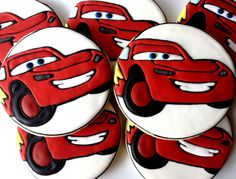 1 Dozen Disney Inspired Cars Lightning McQueen by Sugared Hearts Bakery Car Cookies, Disney Cookies, Royal Icing Cookies, Cupcake Cookies, Cookie Decorating Icing, Decorating Cakes, Character Cupcakes, Lightening Mcqueen, Royal Icing Decorations