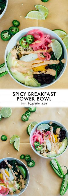 Easy breakfast recipe! A Spicy Breakfast Power Bowl with pickled red onions, avocado, and more. | Get the full recipe on bygabriella.co #riceonthego #ad