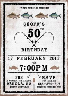 Mens Birthday Party Invitation Fishing By WestminsterPaperCo 60th Invitations 90th Parties Adult