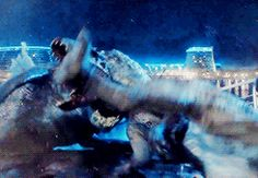 Mosasaur killing Indominus Rex. I never expected that when I went to the theater! I'm wondering what happened under the water since Indominous did have fish dna!
