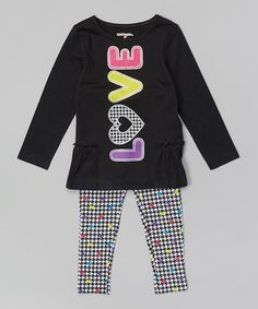 Another great find on #zulily! Deep Black 'Love' Top & Leggings - Infant & Toddler by Kidtopia #zulilyfinds