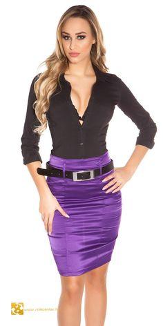 Eleganter Bleistiftrock mit Riemenrücken in 4 Farben (XS S M L XL) Satin Pencil Skirt, Satin Skirt, Satin Dresses, Sexy Outfits, Fashion Outfits, Fashion Beauty, Girl Fashion, Pencil Skirt Outfits, Sexy Blouse