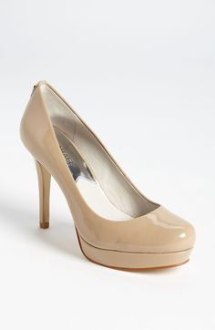 Nude pump- MICHAEL Michael Kors 'Ionna' Pump available at (probably too high) Beige Pumps, Nude Pumps, Black Pumps, Shoe Boots, Shoes Heels, Wrap Heels, Round Toe Pumps, Michael Kors Shoes, Me Too Shoes