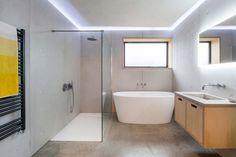 Salles de bains avec murs en béton.
