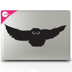 MAC DECAL vinyl laptop stickers Wall Computer Geekery- Owl with Glowing Eyes- Removable Decal 47. $9.98, via Etsy.