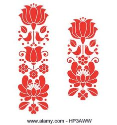 Kalocsai Red Embroidery - Hungarian Floral Folk Art Long Patterns Stock Vector - Illustration of hungary, folklore: 71916281 Hungarian Embroidery, Folk Embroidery, Brazilian Embroidery, Learn Embroidery, Embroidery For Beginners, Vintage Embroidery, Embroidery Techniques, Floral Embroidery, Embroidery Designs