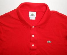 LACOSTE Men's Solid Red Polo Shirt size 5 MEDIUM M Crocodile Short Sleeve #Lacoste #PoloRugby