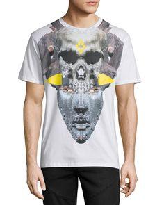 Marcelo Burlon Skull/Mask Graphic T-Shirt, White Skull Mask, Neiman Marcus, Short Sleeves, Mens Fashion, Pullover, Tees, Mens Tops, T Shirt, Clothes