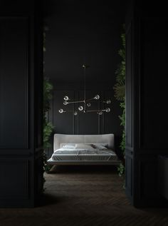 Im so good at sleeping I can do it with my eyes closed. Dark and glamorous bedroom with luscious green foliage. Sunday sleep-ins. - Architecture and Home Decor - Bedroom - Bathroom - Kitchen And Living Room Interior Design Decorating Ideas -