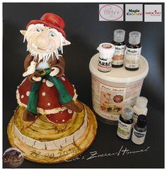 """Darf ich Vorstellen.... """" Leondri der Gnom """"  Modelliert ist der kleine Gnom mit der Modellierpaste von Saracino .. bemalt ist er mit den Farben von Magic Colours und Tortys - Backzubehör Shop .. Einfach hammer wie toll diese Farben sind...   #evezuckerhimmel #magiccolour #tortys #saracino #modelling #fondant #freestyle #figur #Gnome #pastenfarbe"""