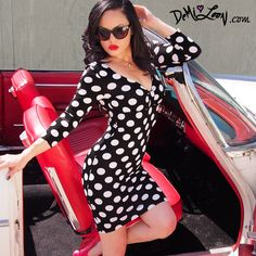 In love with this Black & white polka dot Pinup dress! All sizes still available $ 38 www.DemiLoon.com diy vintage retro rockabilly inspired! by Demi Loon #pinup #model #retro #vintage #diy #dress #rockabilly