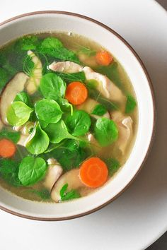 Watercress and Chicken Soup - Nom Nom Paleo® - This Watercress & Chicken Soup is an adaption of my mom's recipe that can be pre - Watercress Recipes, Watercress Soup, Chinese Watercress, Gluten Free Recipes For Dinner, Paleo Recipes, Dinner Recipes, Cooker Recipes, Nom Nom Paleo, Jerk Chicken