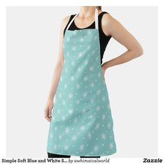 Simple Soft Blue and White Snowflake Pattern Apron