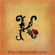 ... lettera K Stilizzata, in Corsivo - Tutti i Tatuaggi con la lettera K