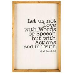 1 John 3:18 Wood Wall Decor