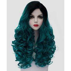 Fashion Black Turquoise Ombre Synthetic Trendy 60CM Long Fluffy Curly... ($17) ❤ liked on Polyvore featuring costumes, ladies halloween costumes, wigs costume, cosplay halloween costumes, womens costumes and lady halloween costumes