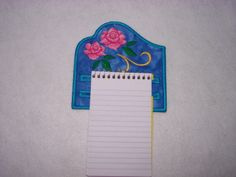 Machine Embroidery Refrigerator Notepad Holder - Rose Design. $12.00, via Etsy.