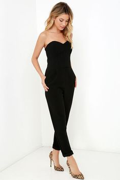 Electric Boogaloo Black Strapless Jumpsuit at Lulus.com!