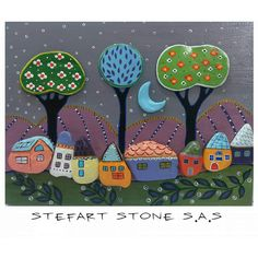 Made-To-Order The Happy Village Handpainted stones от StefArtStone