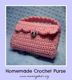 crochet purse - This mom made this purse for Operation Christmas Child; could also be a gift for a niece, or act as a camera case for me; uses leftover yarn, so there is no need to go yarn hunting.