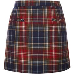 Oscar de la Renta Plaid Wool A-Line Skirt (680 BRL) ❤ liked on Polyvore featuring skirts, wool plaid skirt, red knee length skirt, high waisted a line skirt, high waisted skirts and plaid skirt