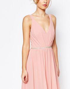 Jarlo | Jarlo V Neck Maxi Dress In Chiffon With Embellished Waist at ASOS