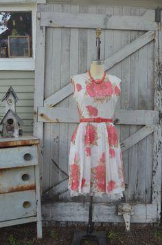 1950s white cotton dress 50s floral summer dress size medium Vintage rockabilly sleeveless dress by melsvanity on Etsy