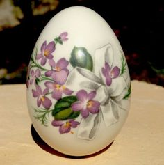 The Egg Lady Porcelain Easter Egg ~ Violet Bouquets ~ White Ribbon with Violets