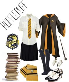 """Hufflepuff Uniform"" by neonballrooms on Polyvore"