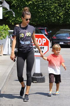 Mom and me time: Alessandra Ambrosio and son Noah headed out for a spot of shopping in Brentwood, California, on Saturday