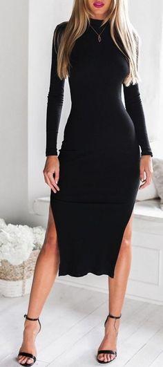 Black Cutout-Back Midi Dress