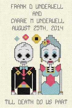 DIY Weddings: Day of the Dead Bride and Groom Cross Stitch