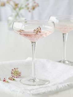 Add an extra level of elegance to your next gathering with these bubble glass champagne coupe glasses - perfect for pink champagne or to make pink lemonade a little fancier! You can shop our new Bubble Glass champagne Coupe via the link in our bio. Champagne Coupe Glasses, Champagne Cocktail, Cocktail Glass, Signature Cocktail, Champagne Flutes, Pink Champagne, Gin Glasses, Champagne Saucers, Pink Lemonade