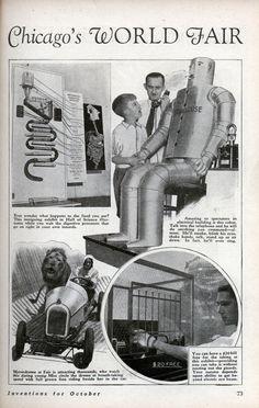 """Scientific Highlights of Chicago's World Fair"" as seen in Modern Mechanix magazine October 1933 edition."