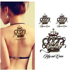 Black King Luxury Crown Tattoos Women Arm Sticker Waterproof Temporary Tattoo Flash Body Art Painting Queen Crowns Sex Products