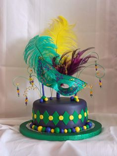 Mardi Gras in November - My coworker's 10 year old niece requested a Mardi Gras birthday cake. MMF, airbrushed purple pearl, all items inserted into the cake are sheathed in drinking or coffee straws. TFL