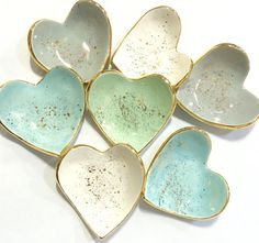 Heart shaped handmade ring dish 22K gold by susangordonpottery