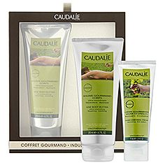 Caudalie - Indulgent Body Set       Rich in moisturizing Vinolevure ultra-nourishing butters, grape seeds, and shea butter, this balm deeply repairs dry skin with a protective hydrolipidic film. It smooths rough spots and soothes tightness. With the delicious scent of sweet orange zest, peach pulp, carrot and iris, this cream wraps skin in a veil of satiny softness.