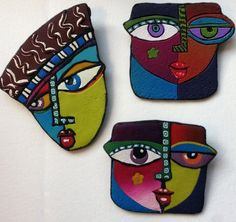 Polymer Clay Canes, Fimo Clay, Polymer Clay Creations, Clay Beads, Polymer Clay Jewelry, Ceramic Jewelry, Clay Projects, Clay Crafts, Abstract Face Art